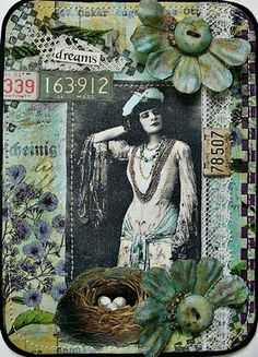 Gorgeous ATC... Collages, Collage Art, Collage Ideas, Photomontage, Art Trading Cards, Atc Cards, Greeting Cards, Artist Card, Art Journal Inspiration