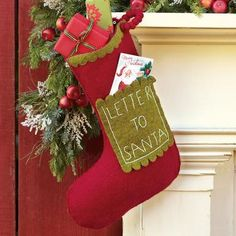 tis the season for RED:    cute letter to santa stocking