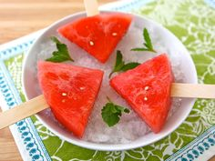 Frozen Watermelon Mojito Pops - slices of watermelon soaked in a mojito cocktail mixture, then frozen. A simple grown up boozy summer popsicle!