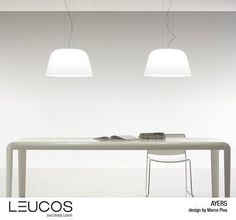 #Lamp in blown #glass glossy white according to ancient tradition of #Murano. Made in 4 versions: table, wall, hanging and floor. Minimal #design for a space that doesn't give up to classic taste!  #Leucos #Ayers design by Marco Piva