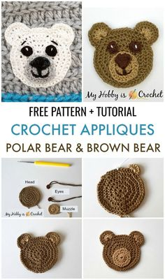 Polar Bear & Brown Bear Appliques - Free Crochet Pattern These crocheted bear appliques are cute embellishments for any baby/ small child item, such as hats, cardigans, baby blankets, etc. Learn how Crochet Applique Patterns Free, Crochet Blanket Patterns, Baby Blanket Crochet, Baby Patterns, Knitting Patterns, Free Pattern, Crochet Appliques, Owl Applique, Crochet Embellishments