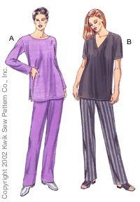 Kwik Sew 3087 from Kwik Sew patterns is a Tunics and pants sewing pattern