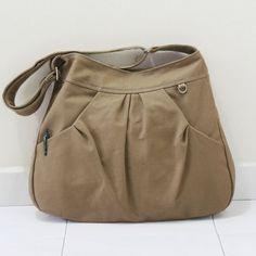 Canvas Cotton Sling bag in Khaki Market bag Crossbody by Kinies