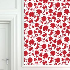 Red Flower Toile Wallpaper Tiles | Wallpaper Tiles Laundry room? Removable