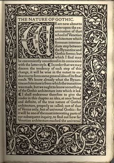 Primera pagina del libro Naturaleza del Gotico de John Ruskin, impreso en Kelmscott Press.