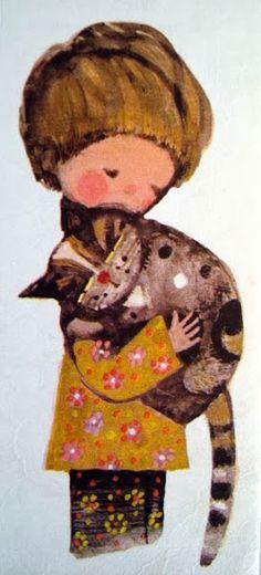 """Illustration from the Polish children's book """"Kołysanka dla Marka"""" by Anna Świrszczyńska, illustrated by Hanna Krajnik (1970's)"""