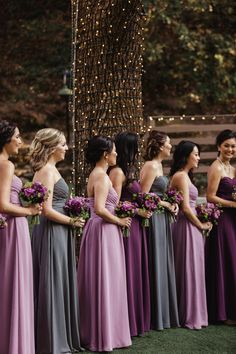 2019 Brides Favorite Purple Wedding Colors---purple and gray bridesmaid dresses for fairy tale woodland weddings Lavender Bridesmaid Dresses, Grey Bridesmaids, Wedding Dresses, Azazie Bridesmaid Dresses, Purple Dress Wedding, Purple Gray Weddings, Wedding Ideas Purple, Lavender Wedding Colors, Bridesmaid Color