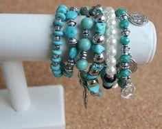 Conjunto de Pulseiras azul turquesa