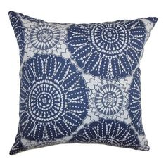 "The Pillow Collection - Maizah Geometric Pillow Blue - This contemporary pillow brings texture to your living room, bedroom or any space. With a unique geometric pattern in shades of blue and white, this decor pillow is a perfect statement piece. Mix and match this square pillow with solids and other patterns to make your decor style interesting and unconventional. The material used in this 18"" pillow is 100% cotton-made. Hidden zipper closure for easy cover removal.  Knife edge finish on…"
