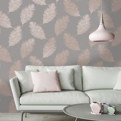 Transform any room with this delightful rose gold feather wallpaper from the Reflect Wallpaper Collection. Available at Go Wallpaper UK. Home Living Room Wallpaper, Hallway Wallpaper, Grey Wallpaper, Wallpaper Decor, Wallpaper Design For Bedroom, Wallpaper Designs For Walls, Livingroom Wallpaper Ideas, Rose Gold Bedroom Wallpaper, Bedroom Feature Wallpaper