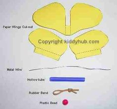 Some years ago, a local organisation was asking us to come out an idea in making a paper flying butterfly based on the commercial available one. It should be easy. Flying Butterfly Card, Butterfly Mobile, Butterfly Template, Leaf Template, Paper Butterflies, Butterfly Crafts, Flower Template, Crown Template, Rubber Band Crafts