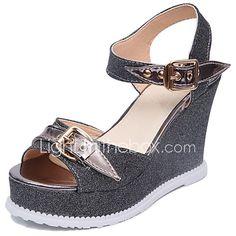 Women s Sandals Comfort Summer Rubber Walking Shoes Outdoor Buckle Wedge  Heel Gold Black Silver Under 1in 1a18c00c096cc