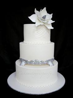 White Poinsettia Wedding Cake
