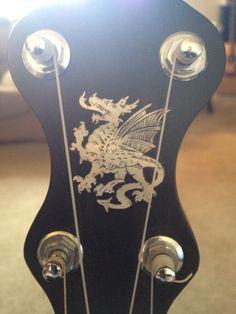Headstock art on my Mike Ramsey round peak style banjo