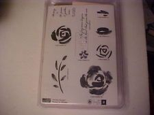 NEW STAMPIN' UP Roses in Winter Two Step Wood Mounted Rubber Stamp Set