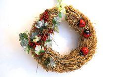 Rustic Straw Wreath. Handmade Wall Hanging. Door wreath. Door