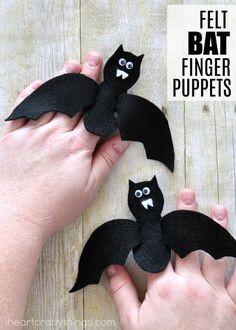Make these cute felt bat finger puppets for a fun Halloween Kids Craft. Playful finger puppets craft for kids and Halloween bat crafts.