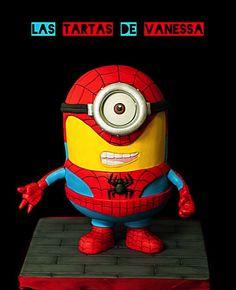 Minion Spiderman - Cake by Vanessa Rodríguez - CakesDecor Spiderman Theme, Superhero Theme Party, Superhero Birthday Cake, Novelty Birthday Cakes, Cake Spiderman, Bolo Minion, Minion Cakes, Minions Funny Images, Minions Quotes