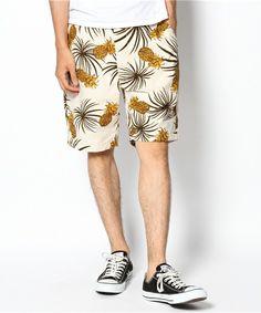 coen MENS(コーエン メンズ)のCOEN×NOMA textile design 綿麻パイナップル柄ショーツ(パンツ)|ベージュ