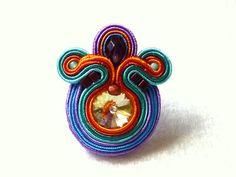 Soutache Ring Swarovski Colorful Big Ring Elegant by KCSoutache