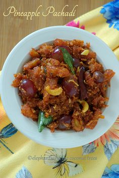 elephants and the coconut trees: Pineapple pachadi without yogurt / Kerala sadya special madhura pachadi / Vegan spicy pineapple recipe #Keralafood #Keralasadya