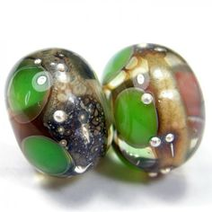 Handmade Lampwork Bead Pair Ivory Green Glass Dots Silver Band SRA | Covergirlbeads - Jewelry on ArtFire