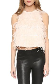 Tank is slightly cropped, features feather accents, keyhole back with button closure. Perfect top for a night out!   Amelie Ostrich Tank by Line & Dot. Clothing - Tops - Night Out Clothing - Tops - Sleeveless Texas