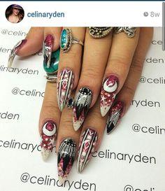 Red hippie nails omg im in ♥! Gypsy Nails, Bohemian Nails, Hippie Nails, Stiletto Nails, Gel Nails, Acrylic Nails, Nail Polish, Marble Nails, Trendy Nails