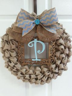 Burlap Wreath, Bubble Burlap, Chevron, Initial, Door Decor, Monogram wreath