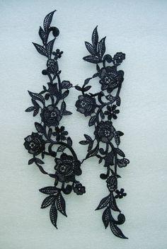 black lace roses | VT52-2 Mirror Pair Rose Flower Lace Venise Venice Applique Black [VT52 ...