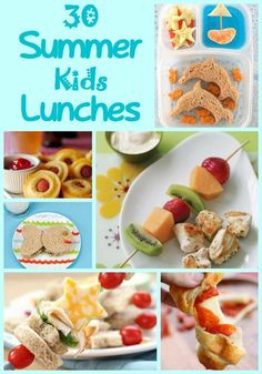 Kids Meals 30 Summer Lunches For Kids 30 Lunches perfect for your kids this summer! Summer Snacks, Lunch Snacks, Summer Recipes, Healthy Snacks, Summer Lunch Menu, Summer Food, Healthy Summer, Lunchbox Kids, Toddler Lunches