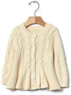 Cable knit peplum cardigan