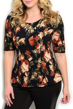 DHStyles Women's Black Brown Plus Size Dressy Girly Floral Princess Cut Top with Necklace #sexytops #clubclothes #sexydresses #fashionablesexydress #sexyshirts #sexyclothes #cocktaildresses #clubwear #cheapsexydresses #clubdresses #cheaptops #partytops #partydress #haltertops #cocktaildresses #partydresses #minidress #nightclubclothes #hotfashion #juniorsclothing #cocktaildress #glamclothing #sexytop #womensclothes #clubbingclothes #juniorsclothes #juniorclothes #trendyclothing #minidresses…