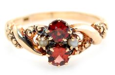 Antique Victorian Engraved Ring w/ Garnet & Pearl Accents in 10K Yellow Gold
