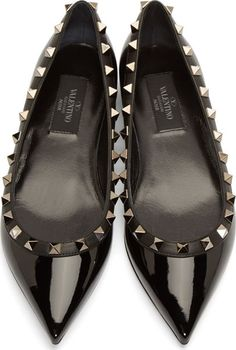 valentino donna perfume for women Pointy Flats, Black Flats Shoes, Shoes Heels, Valentino Shoes Flat, Rockstud Flats, Shoe Brands, Black Patent Leather, Me Too Shoes, Fashion Shoes