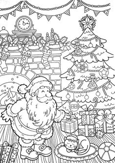 Fun Christmas adult coloring pages for your little one. They are free and easy to print. The collection is varied with different skill levels Lion Coloring Pages, Printable Flower Coloring Pages, Shape Coloring Pages, Detailed Coloring Pages, Printable Adult Coloring Pages, Coloring Pages For Kids, Coloring Books, Kids Coloring, Colouring