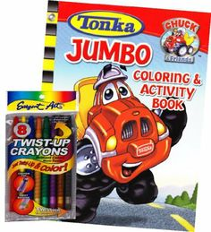 "Tonka Truck Coloring Book Set with Twist-up Crayons by Tonka. $9.95. Delight your little one with this Tonka Truck Jumbo Coloring and Activity book & Twist-up Crayons. Includes a package of full sized Seargent Art Twist-up crayons. Games, puzzles, mazes and coloring fun with Chuck the Talking Tonka Truck. Book measures approximately 8"" x 10.75"" and has about 90 pages. Great gift for your favorite Tonka Truck enthusiast! This coloring and activity set will provide many..."