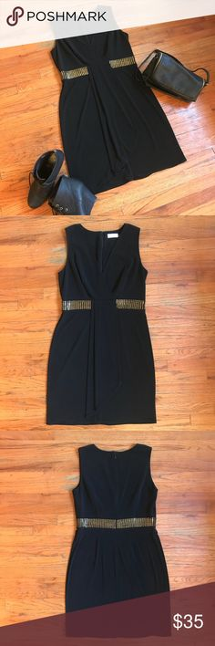 Calvin Klein Black Dress w/ Gold Bead Detail Beautiful black dress with gold beaded detail at waist creating a sexy silhouette. Stretchy and comfortable. Perfect for a night out! 🖤  Material: 95% polyester 5% spandex  Condition: Used, like new condition, worn once. Calvin Klein Dresses