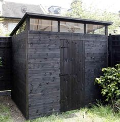 Bespoke 8 x 6 pent with hi-line windows to three sides painted in black basecoat
