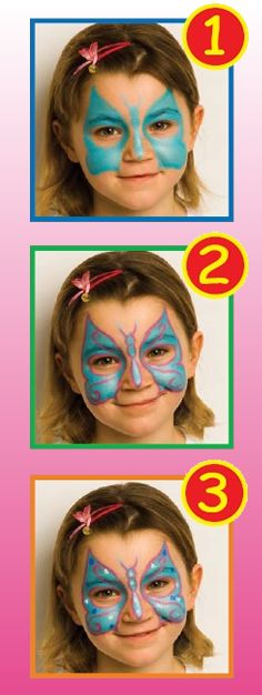 BLUE BUTTERFLY face painting for girl for children. To make this BLUE BUTTERFLY face painting for girl you need: brushspongewatermirrorface painting . Butterfly Face Paint, Butterfly Makeup, Blue Butterfly, Girl Face Painting, Painting For Kids, Body Painting, Face Painting Tutorials, Face Painting Designs, Carnival Crafts