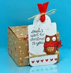 Christmas tag ... adorable owl and owly sentiment ...