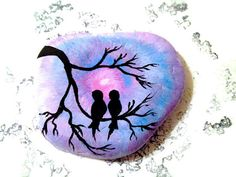 Painted Rock Love Birds by CandiSuesCreations on Etsy