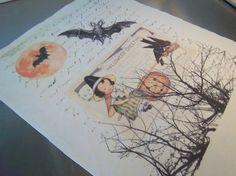 Halloween Stoff Panel handgemachte Hexe Kürbis Vogel von iwathd09