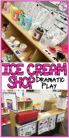 preschool classroom set up Ice Cream Dramatic Play One of our all time favorite dramatic play themes is Ice Cream Shop! a fun theme to do in the summer when Dramatic Play Themes, Dramatic Play Area, Dramatic Play Centers, Preschool Dramatic Play, Preschool Centers, Kindergarten Classroom, Preschool Activities, Drama Activities, Preschool Rooms