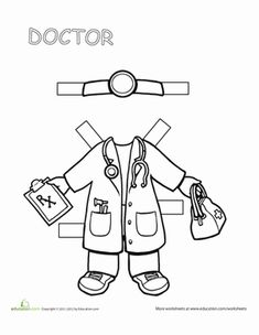 Doctor Paper Doll For career day! Doctor Paper Doll Worksheet and Community Helpers Worksheets, Community Helpers Preschool, People Who Help Us, Community Workers, Career Day, Paper Dolls Printable, Busy Book, Classroom Activities, School Projects