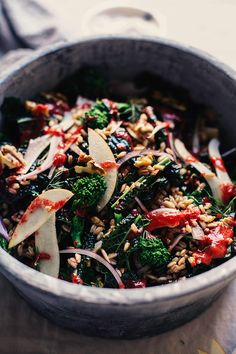 Broccoli rabe and kale harvest salad is a colourful and healthy addition to any Fall table.