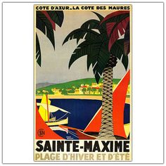 Sainte Maxime by Roger Broders-Framed 24x32 Canvas Art