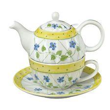 Tea for One Teapot  w/ Strainer: Ribbed w/ Blue Flowers  Polka Dot