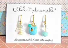 Hook stitch markers - Lot of 3 handmade crochet markers - Owl lover set