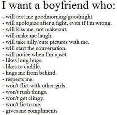 I want a boyfriend who...